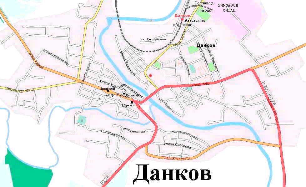 Схема центра города Дербент
