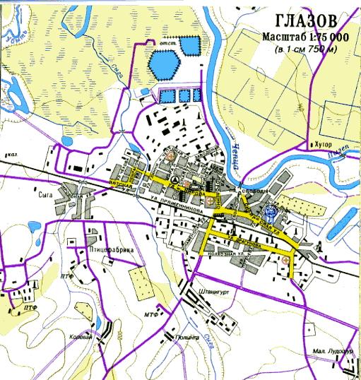 Схема центра города Гороховец