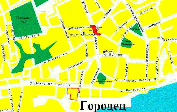 Карта города Городец